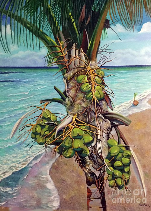 Coconuts Greeting Card featuring the painting Coconuts on beach by Jose Manuel Abraham