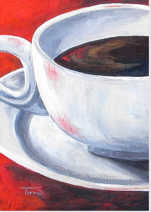 Coffee Greeting Card featuring the painting Coffee On Red by Torrie Smiley