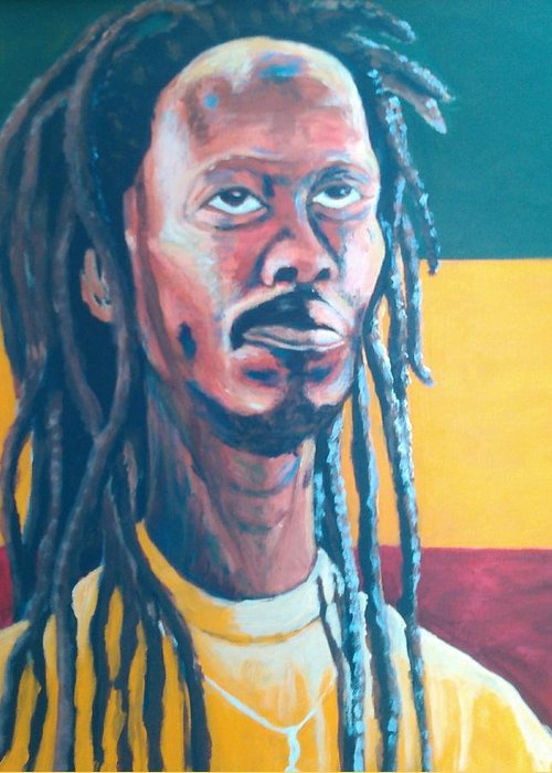 Rasta Portrait Greeting Card featuring the painting ColorPS by Andrew Johnson