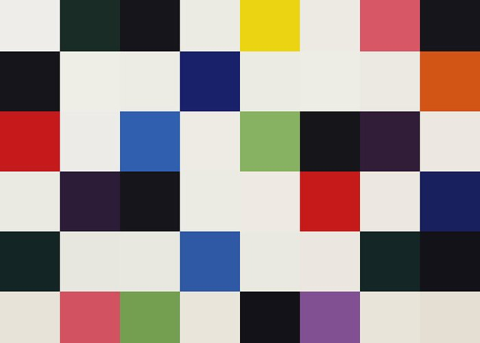 Ellsworth Kelly 8bit Abstract Colorful Primary Squares Greeting Card featuring the digital art Colors For A Large Wall by Max Requenes