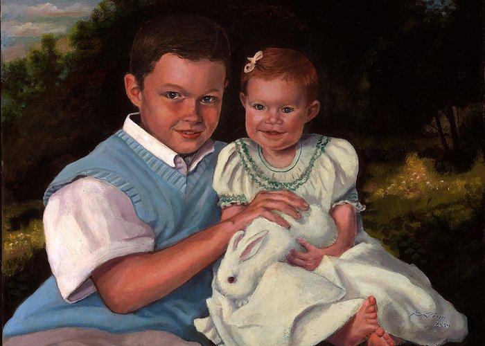 Commission Greeting Card featuring the painting Commissioned Portrait by Timothy Tron