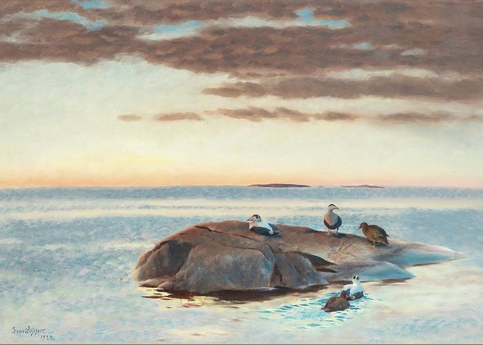 Bruno Liljefors Greeting Card featuring the digital art Common Eiders On A Rock by Mark Carlson