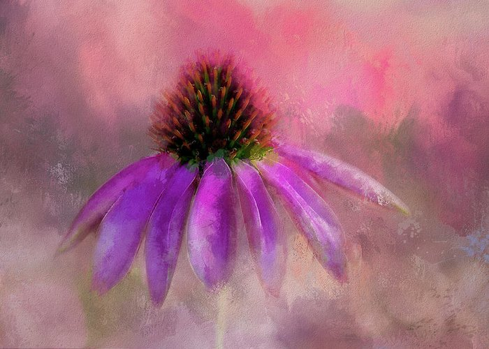 Coneflower Greeting Card featuring the digital art Coneflower Painted by Terry Davis
