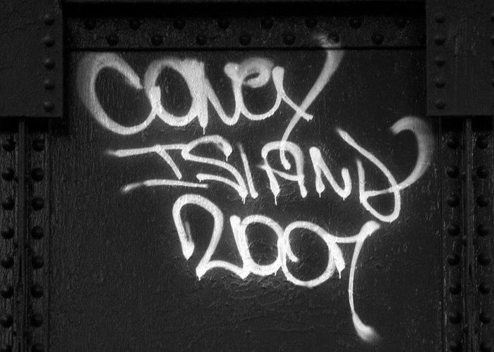 Graffiti Greeting Card featuring the photograph Coney Island by Bryan Hochman