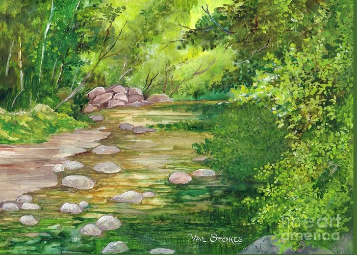 Bush Greeting Card featuring the painting Coromandel Creek by Val Stokes