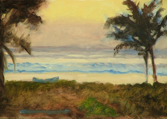 Ocean Greeting Card featuring the painting Costa Rica Gold by Robert Bissett