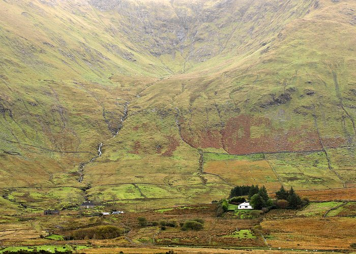 Cottage Greeting Card featuring the photograph Cottage At The Foothill Of The Colorful Connemara Mountains Ireland by Pierre Leclerc Photography