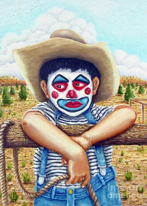Paris Greeting Card featuring the painting County Fair Clown by Santiago Chavez