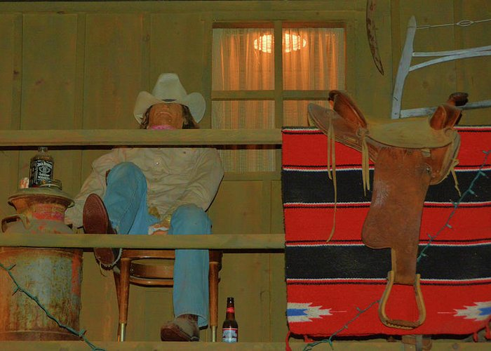 Scenic Greeting Card featuring the photograph Cowboy On Porch by Richard Jenkins