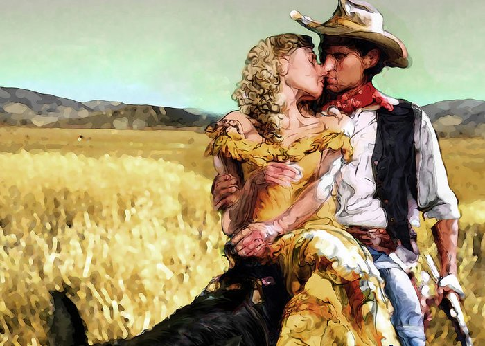 Cowboy Greeting Card featuring the digital art Cowboy's Romance by Mike Massengale