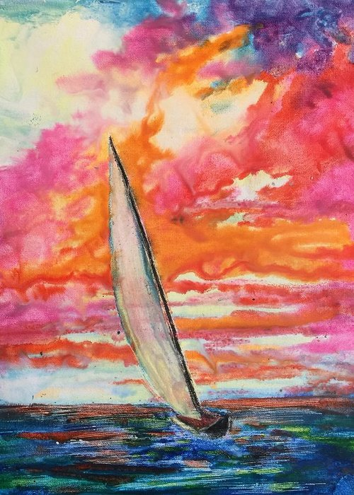 Sailboat Greeting Card featuring the painting Crayola Collection by Melanie Stanton