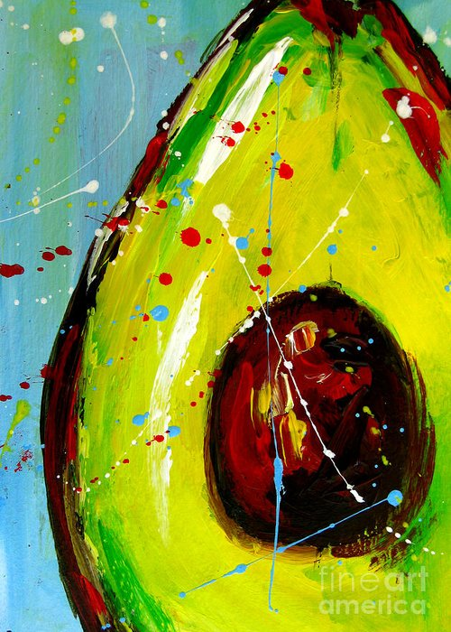 Painting Greeting Card featuring the painting Crazy Avocado by Patricia Awapara
