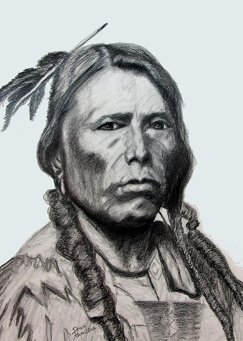 Indian Portrait Greeting Card featuring the drawing Crazy Horse by Stan Hamilton