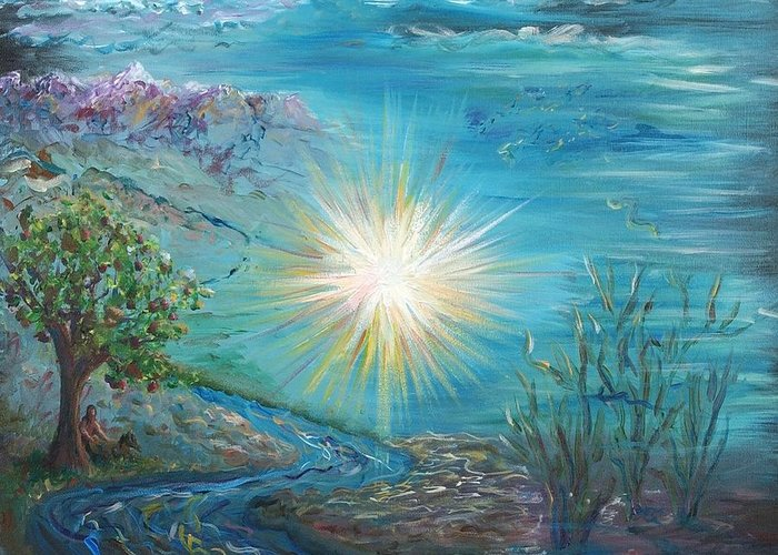 Creation Greeting Card featuring the painting Creation by Nadine Rippelmeyer