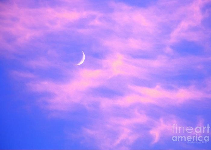 Moon Greeting Card featuring the photograph Crescent Moon Behind Cirrus Cloud In The Evening by Gordon Wood