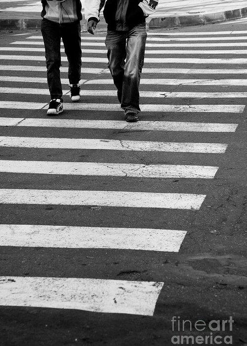Crosswalk Greeting Card featuring the photograph Crossing by Gabriela Insuratelu