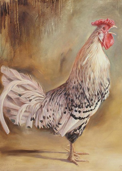 Rooster Greeting Card featuring the painting Crowing Rooster by Hans Droog