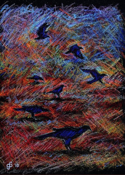 Crows Greeting Card featuring the drawing Crows by Glenn Boyles