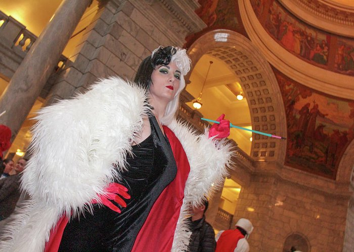 Cosplay Greeting Card featuring the photograph Cruella by Billy Joe
