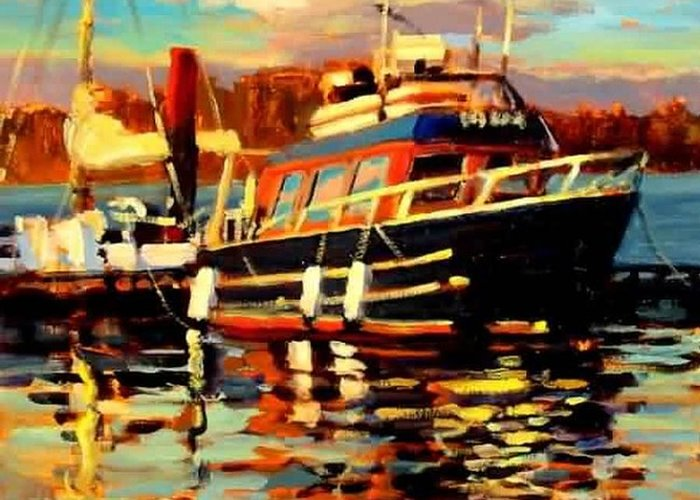 Boat Paintings Greeting Card featuring the painting Cruiser by Brian Simons