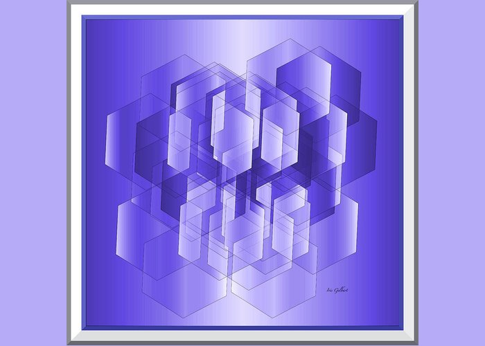 Abstract Greeting Card featuring the digital art Cubed by Iris Gelbart