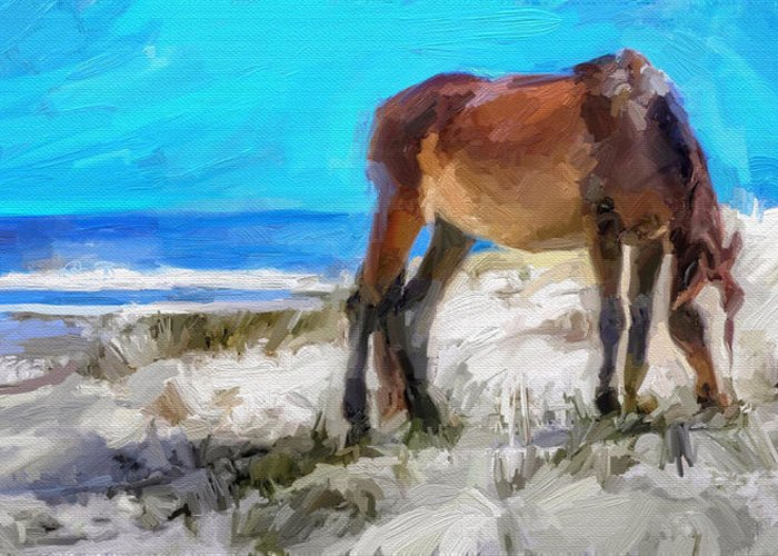 Cumberland Island Pony Horse Greeting Card featuring the digital art Cumberland Pony by Scott Waters