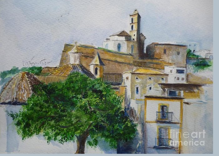 Buildings Greeting Card featuring the painting D Alt Vila Ibiza Old Town by Lizzy Forrester