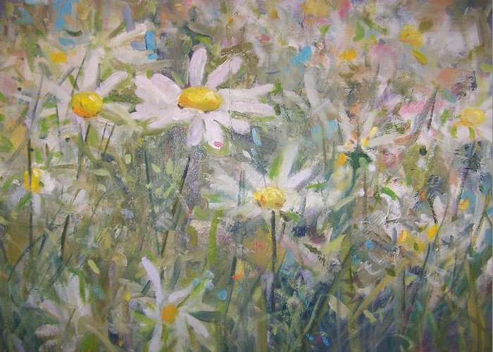 Field Of Daisies.impressionist Painting Greeting Card featuring the painting Daisies by Bart DeCeglie