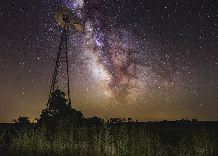 Milky Way Greeting Card featuring the photograph Dakota Night by Aaron J Groen