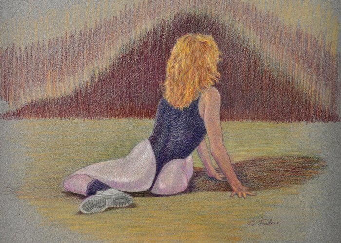 Dancer Greeting Card featuring the drawing Dancer At Rest by Phyllis Tarlow