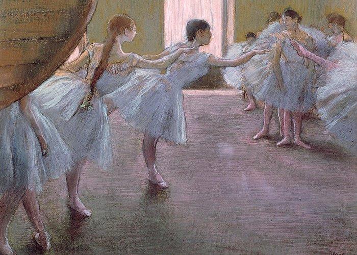 Edgar Greeting Card featuring the pastel Dancers At Rehearsal by Edgar Degas