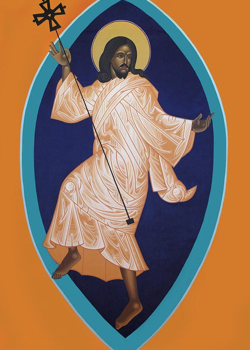 Dancing Saint Icon Greeting Card featuring the painting Dancing Christ by Mark Dukes