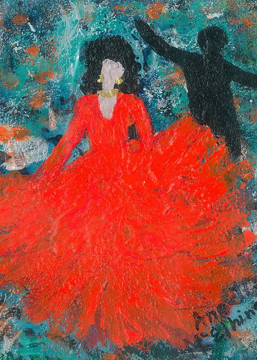 Women Greeting Card featuring the painting Dancing Joyfully With Or Without Ned by Annette McElhiney