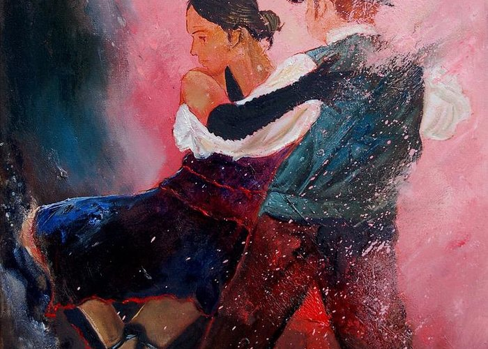 Music Greeting Card featuring the painting Dancing Tango by Pol Ledent