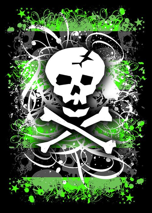 Deathrock Greeting Card featuring the digital art Deathrock Skull by Roseanne Jones