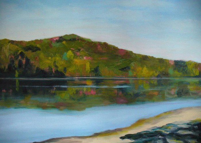 Lake Greeting Card featuring the painting Deer Lake by Joe Lanni