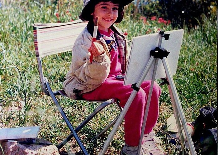 Girl Painting. Painting In The Country. Photo Of Girl Painting Greeting Card featuring the photograph Denese Painting by Tony Calleja