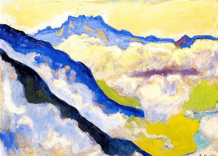 Ferdinand Hodler Greeting Card featuring the painting Dents Du Midi In Clouds by Ferdinand Hodler
