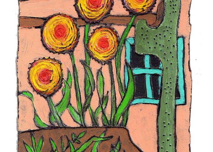 Desert Greeting Card featuring the painting Desert Fantasy by Wayne Potrafka