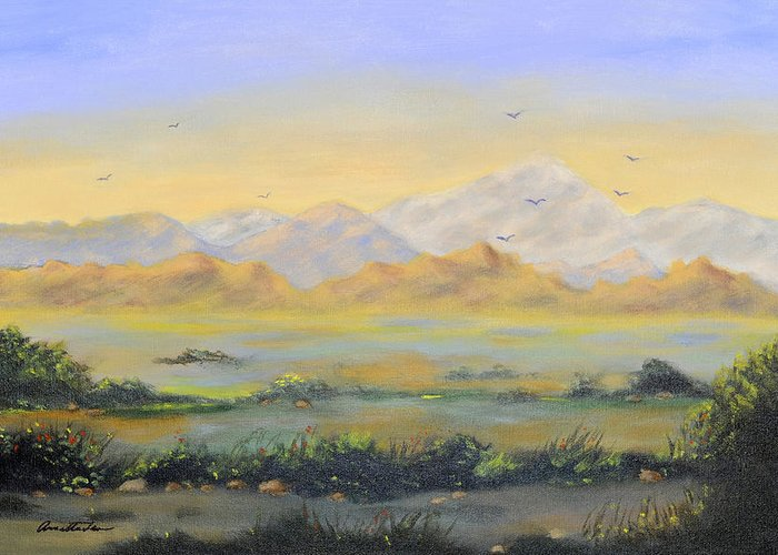Landscape Greeting Card featuring the painting Desert Sunrise by Annette Tan