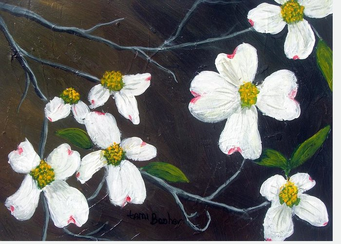 Dogwoods Greeting Card featuring the painting Dogwoods by Tami Booher