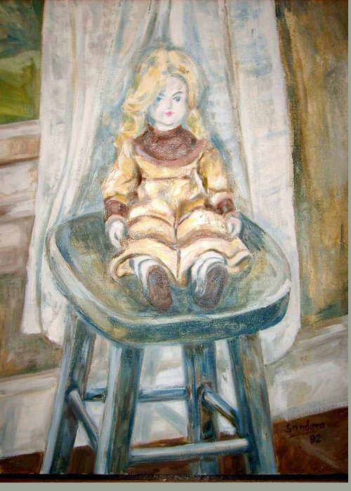 Doll Stool Curtain Portrait Greeting Card featuring the painting Doll On Stool by Joseph Sandora Jr