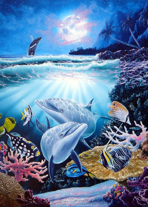 Dolphin Greeting Card featuring the painting Dolphin Dream by Daniel Bergren