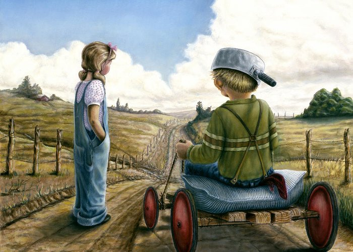 Children Playing Greeting Card featuring the painting Down Hill Racer by Lance Anderson