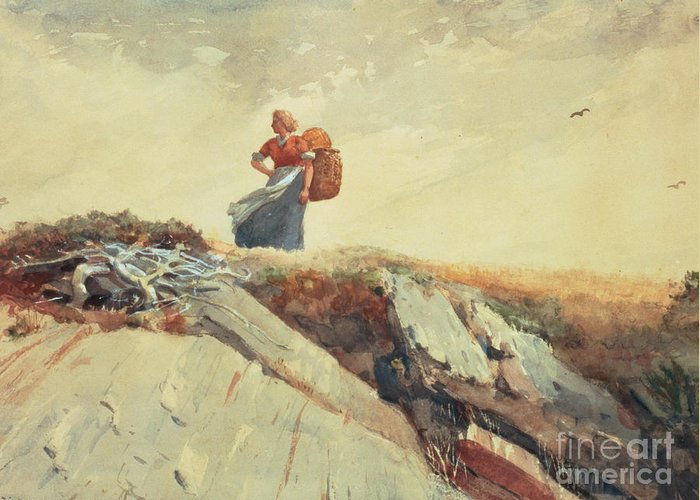 Down The Cliff Greeting Card featuring the painting Down The Cliff by Winslow Homer