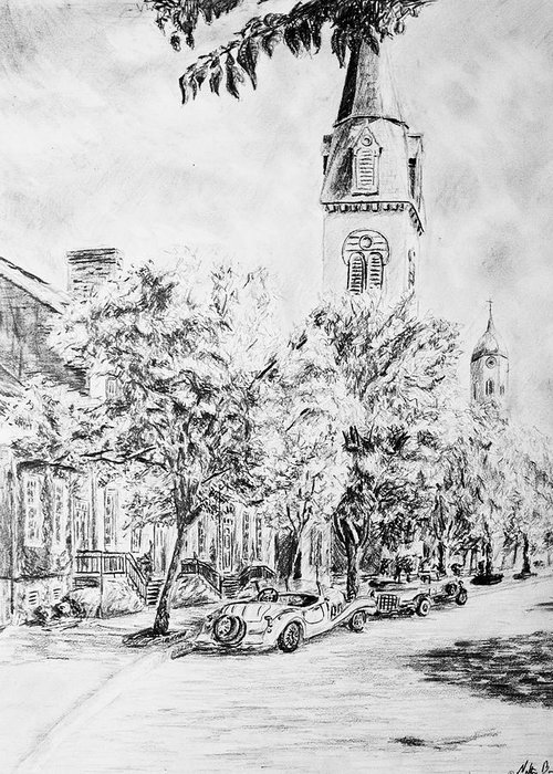 Pencil Greeting Card featuring the drawing Downtown Fred by Nathan Barnes