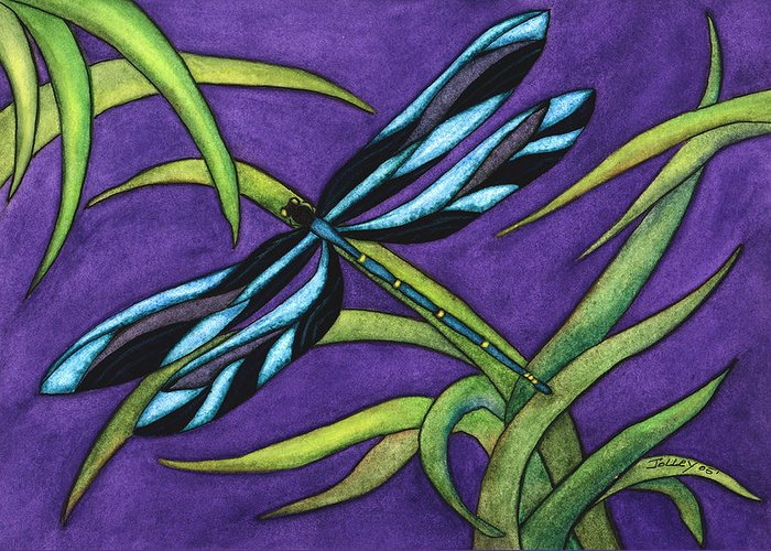 Watercolor Greeting Card featuring the painting Dragonfly by Stephanie Jolley