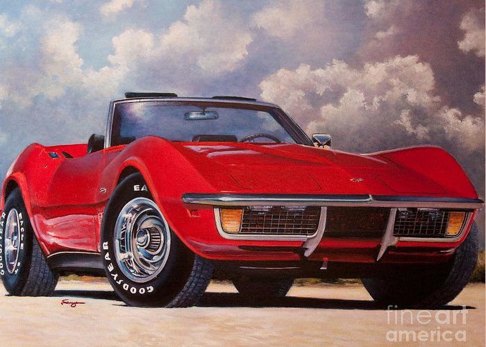 Corvette Greeting Card featuring the painting Drop Top by William Vanya