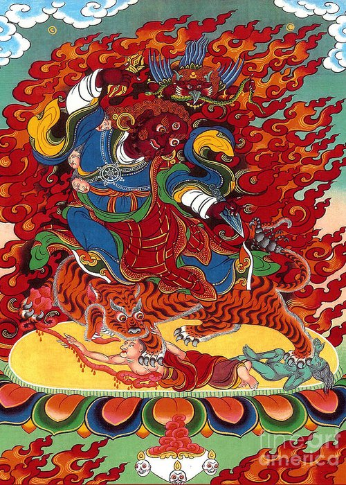 Thangka Greeting Card featuring the painting Dudjom's Dorje Drollo by Sergey Noskov