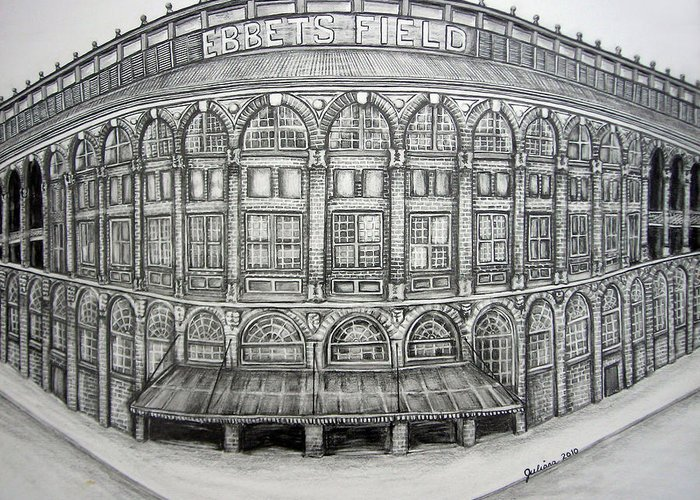 Ebbets Field Greeting Card featuring the drawing Ebbets Field by Juliana Dube